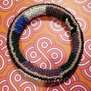 African Seed Bead Thick Bangle Lightweight OS